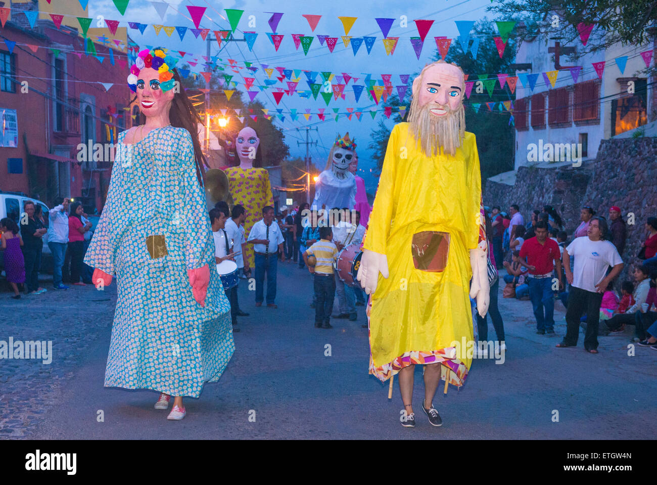 Mojigangas at the festival of Valle del Maiz on May 31 , 2015 in San Miguel de Allende ,Mexico. - Stock Image