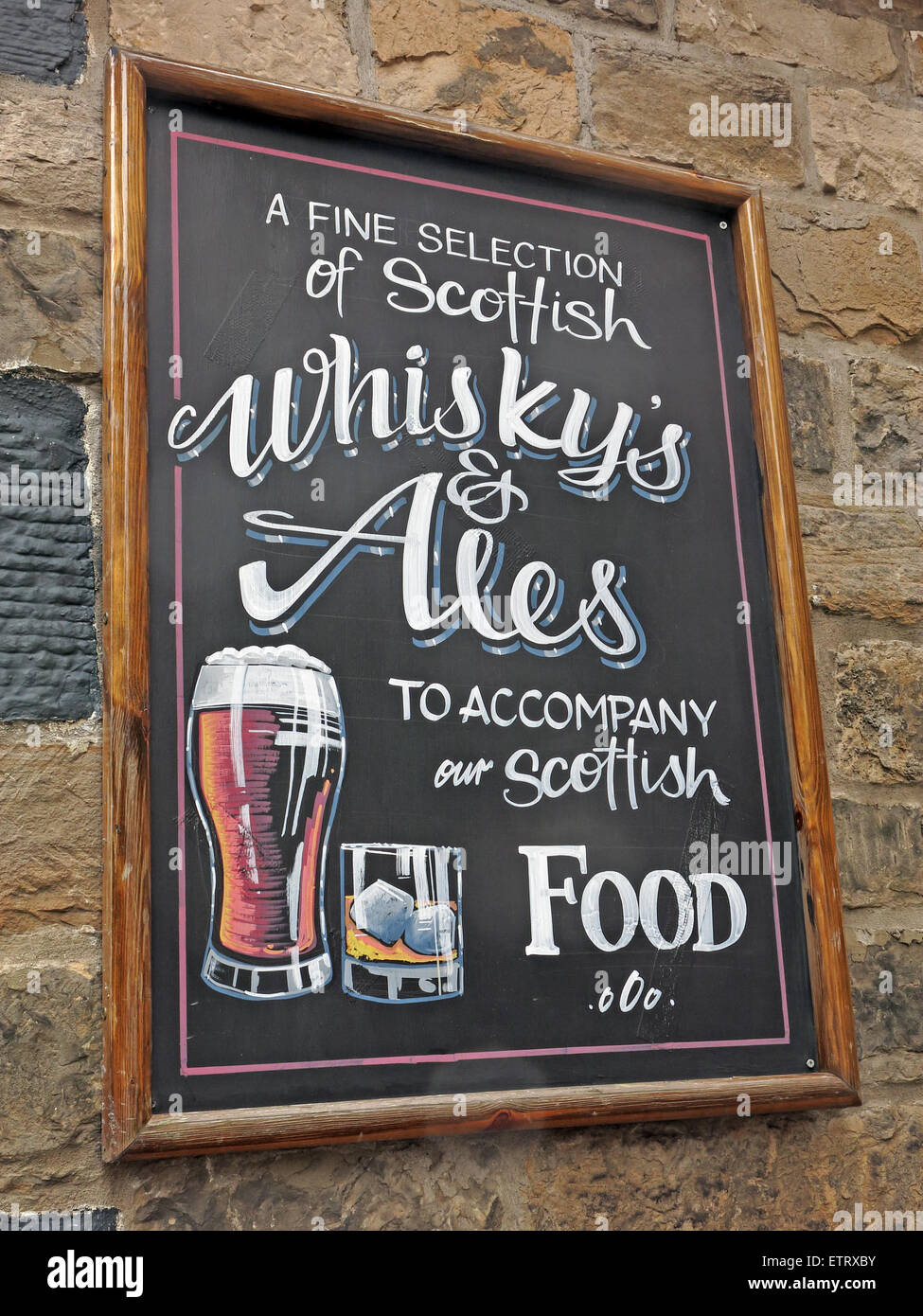 whiskies,drink,drinks,to accompany our Scottish food,rose st,street,Edinburgh city,lothian,scotland,scots,blackboard,chalk,pub,bar,beer,alcohol,picture of a pint,of,a,pint,stone,wall,stonewall,Gotonysmith,Buy Pictures of,Buy Images Of