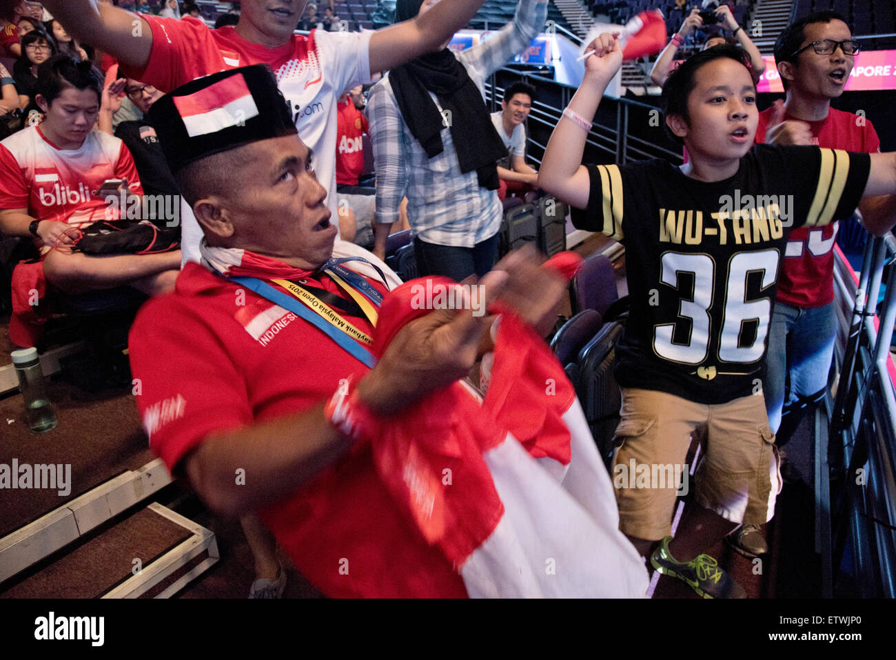 Indonesia vs. Malaysia Badminton doubles final game at the 28th SEA Games, Singapore, Indonesia supporters celebrate - Stock Image