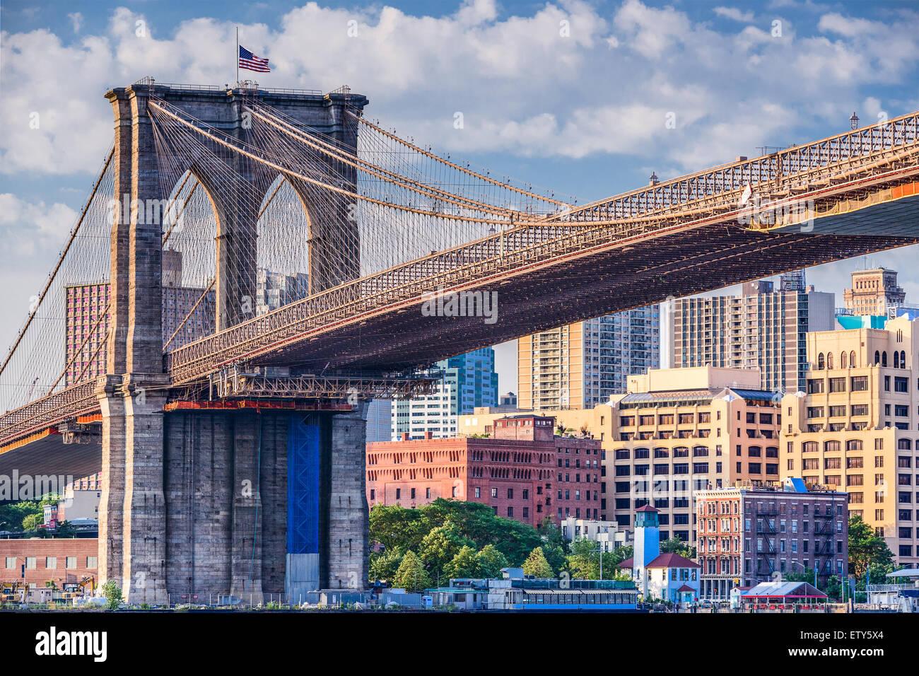 Brooklyn Bridge in New York City. - Stock Image