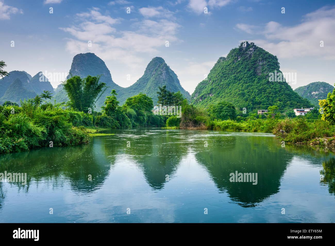 Yangshuo, China Karst Mountain landscape. - Stock Image