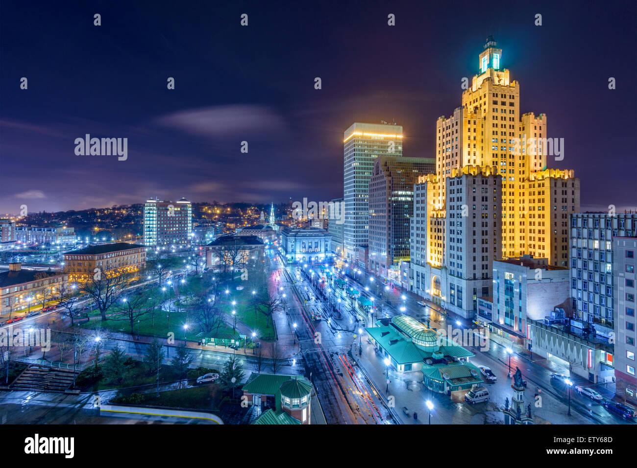 Providence, Rhode Island, USA cityscape at night. - Stock Image