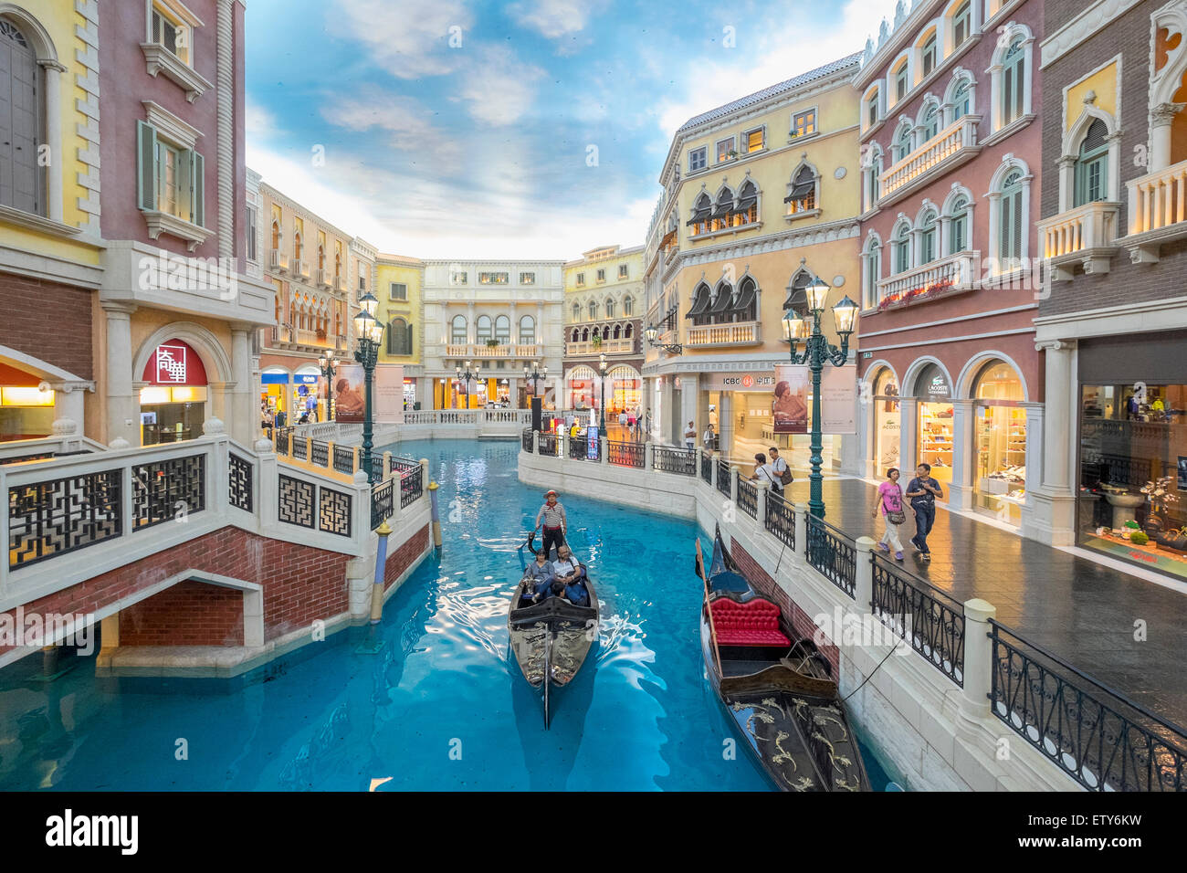 Canal and gondola on canal inside the venetian macao casino and canal and gondola on canal inside the venetian macao casino and hotel in macau china altavistaventures Images