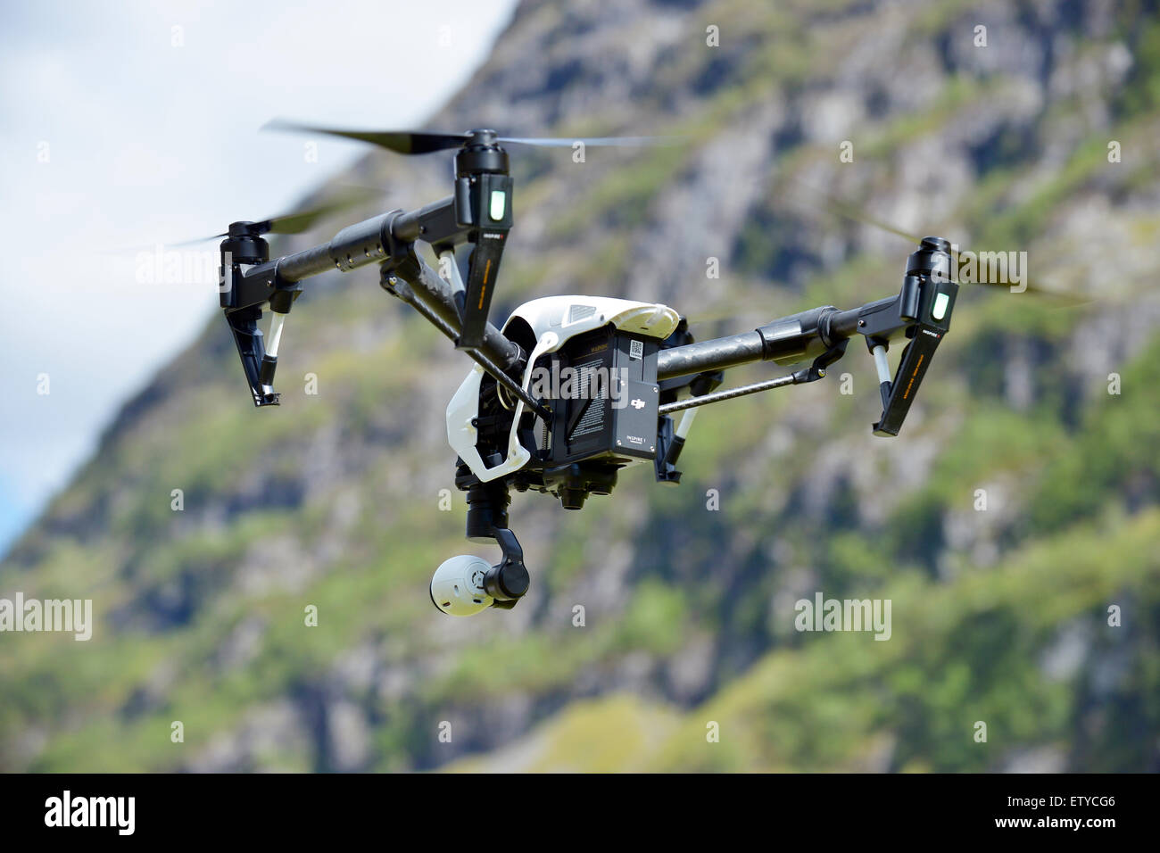 Drone with camera flying - Stock Image