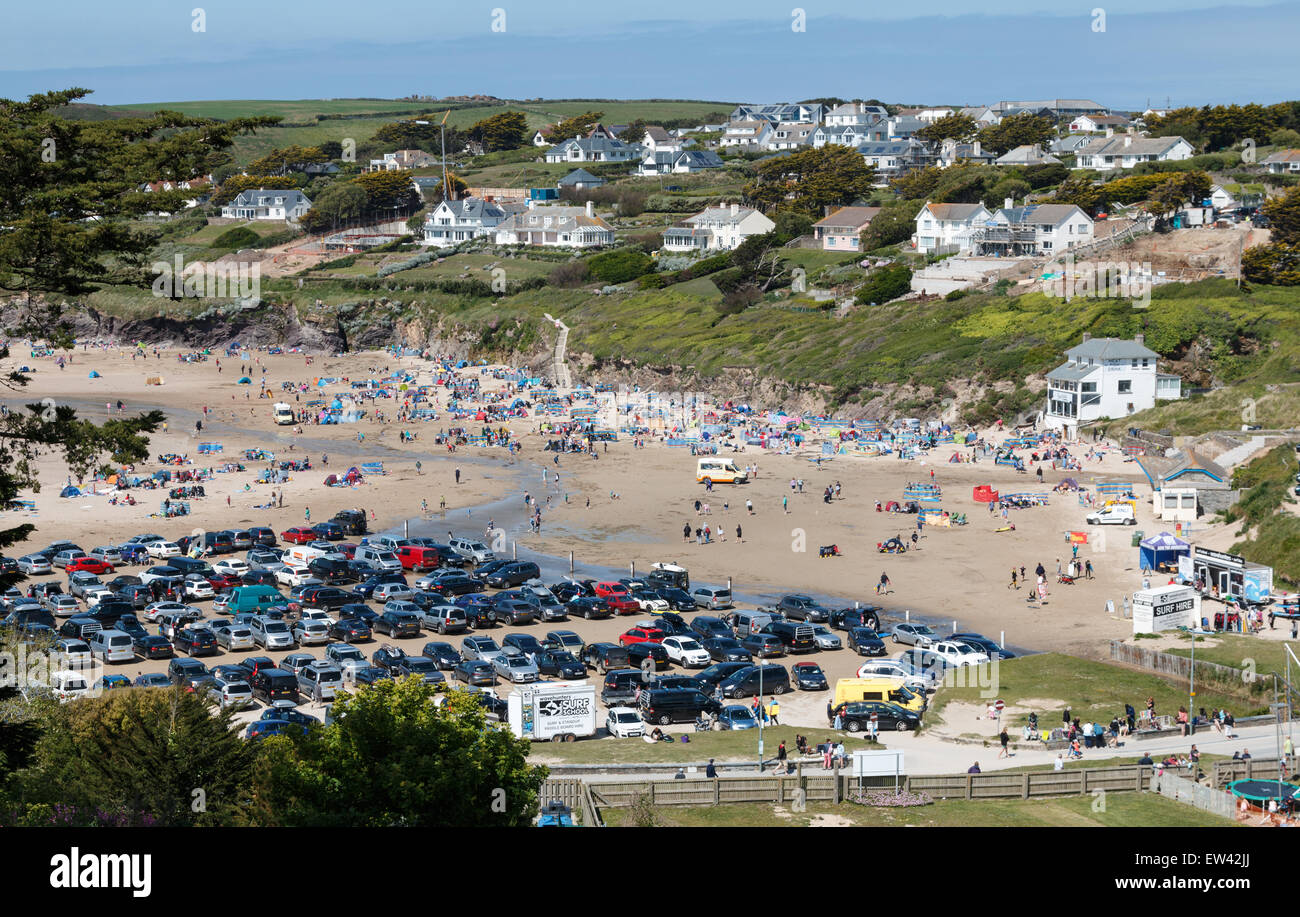 Polzeath is one of the most popular surfing and holiday beaches in Cornwall, UK Stock Photo