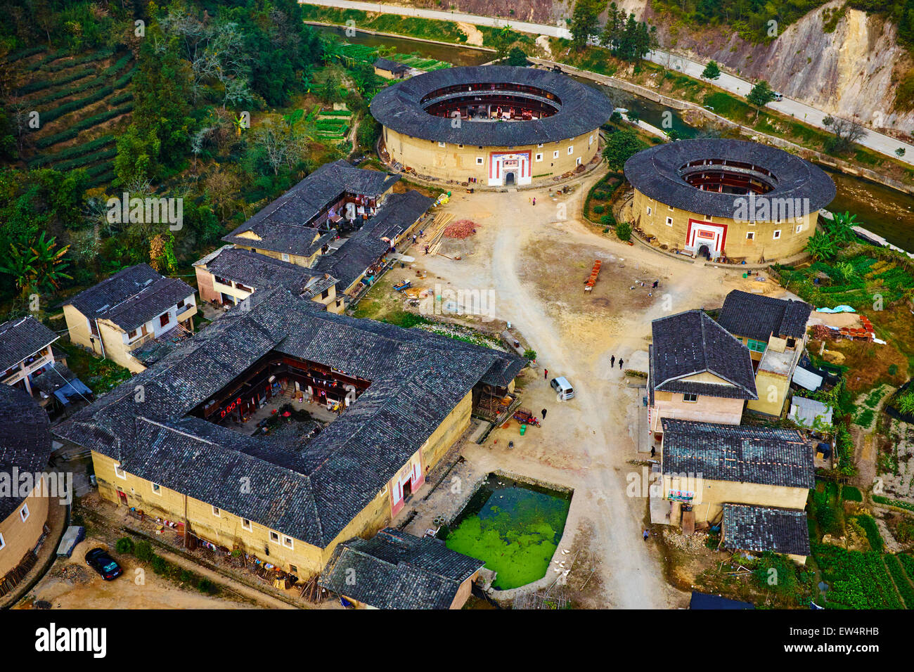 China, Fujian province, Hekeng village, Tulou mud house. well known as the Hakka Tulou region, in Fujian. In 2008, Stock Photo