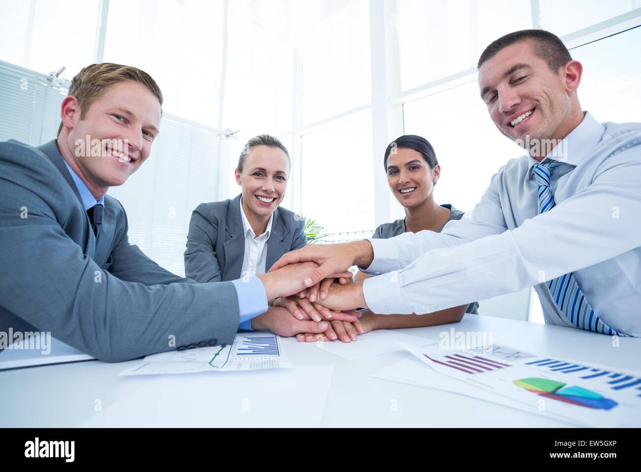 Business team celebrating a good job - Stock Image