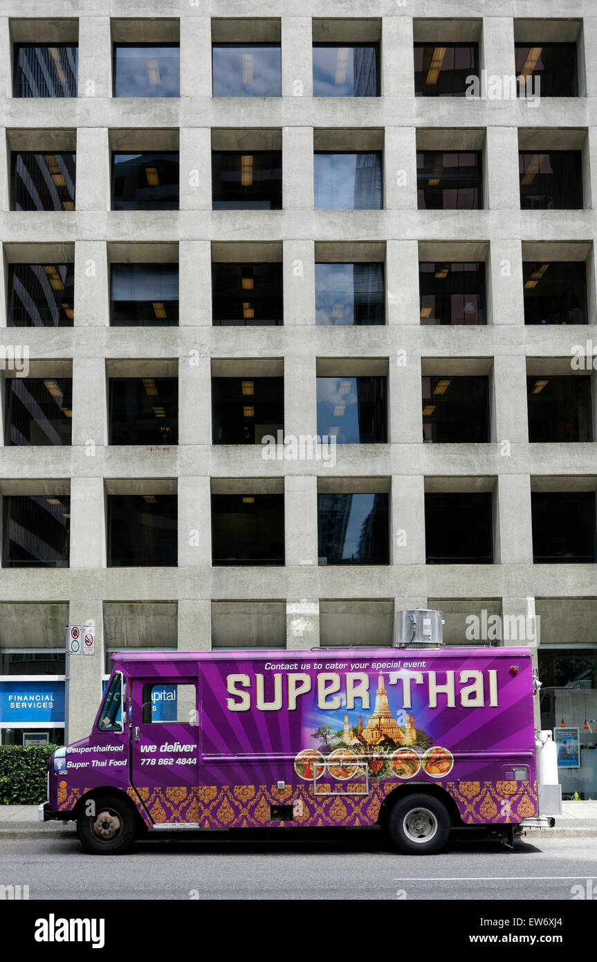 Thai food truck in downtown Vancouver, BC, Canada - Stock Image