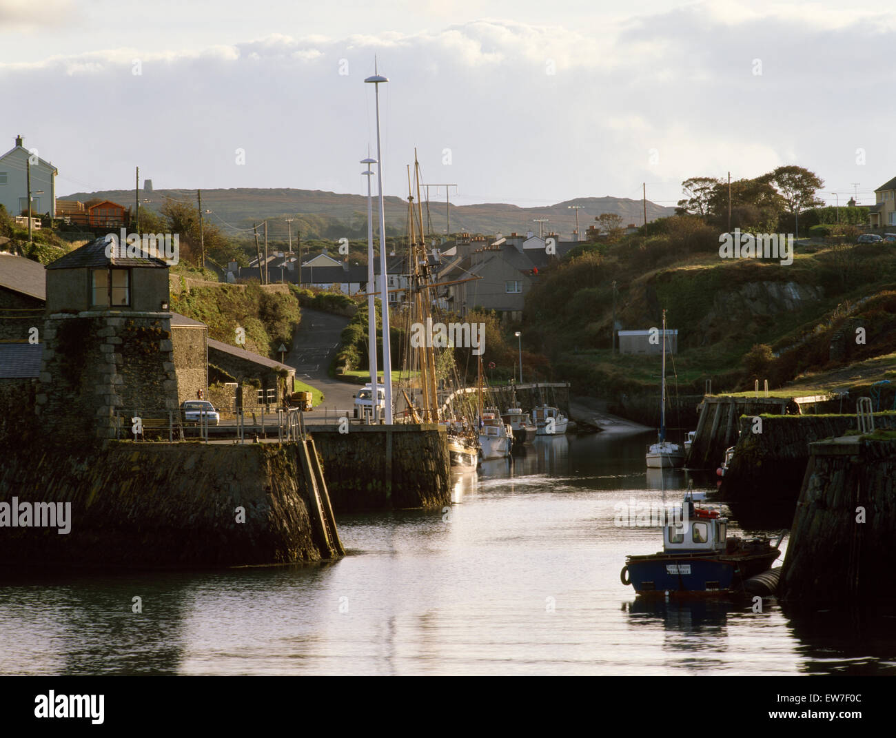 Amlwch Port, Anglesey enlarged & developed from late 1700s to process & export copper & other minerals - Stock Image