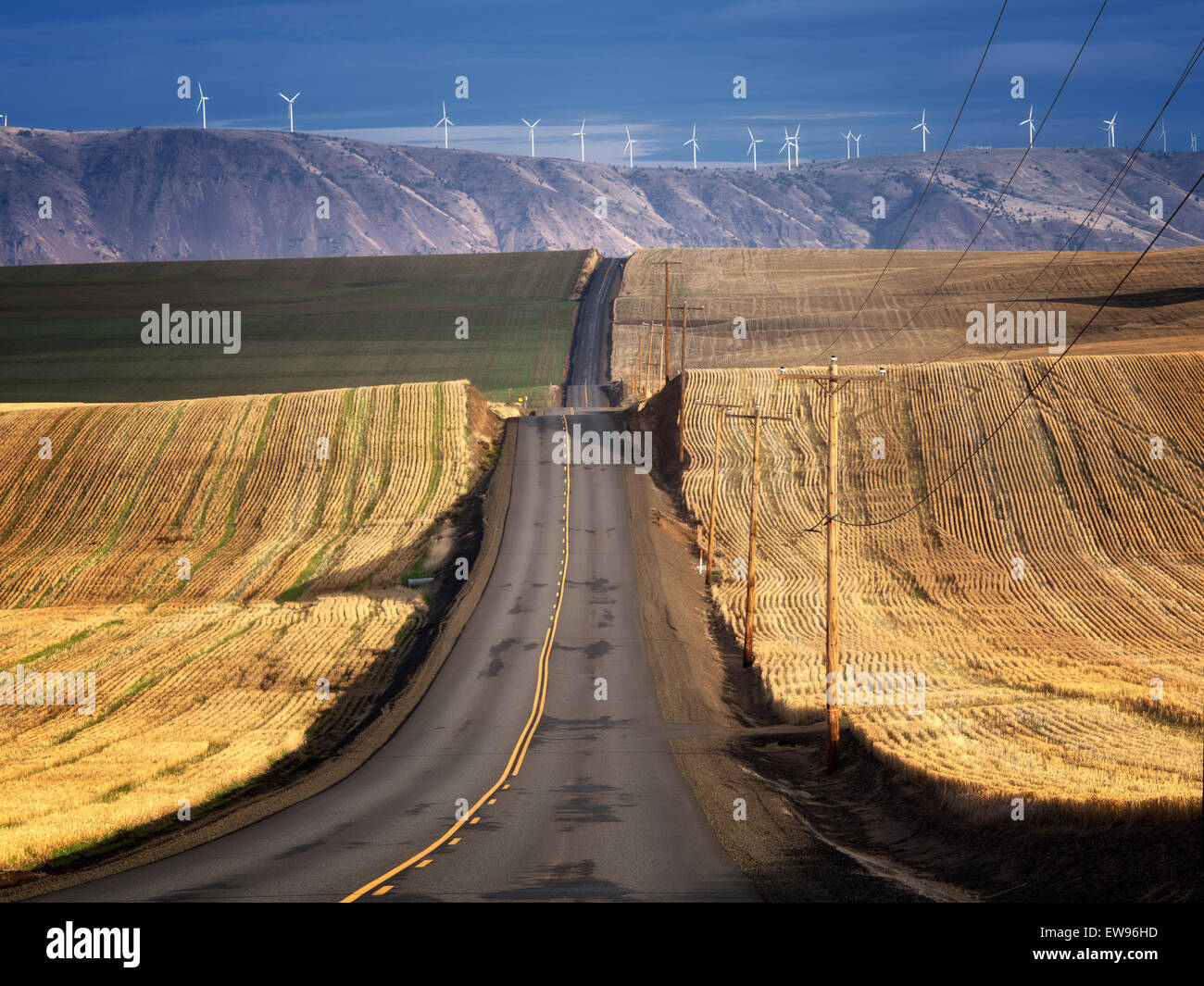 Backroad and wind turbines in Sherman County near the Columbia River Gorge, Oregon - Stock Image