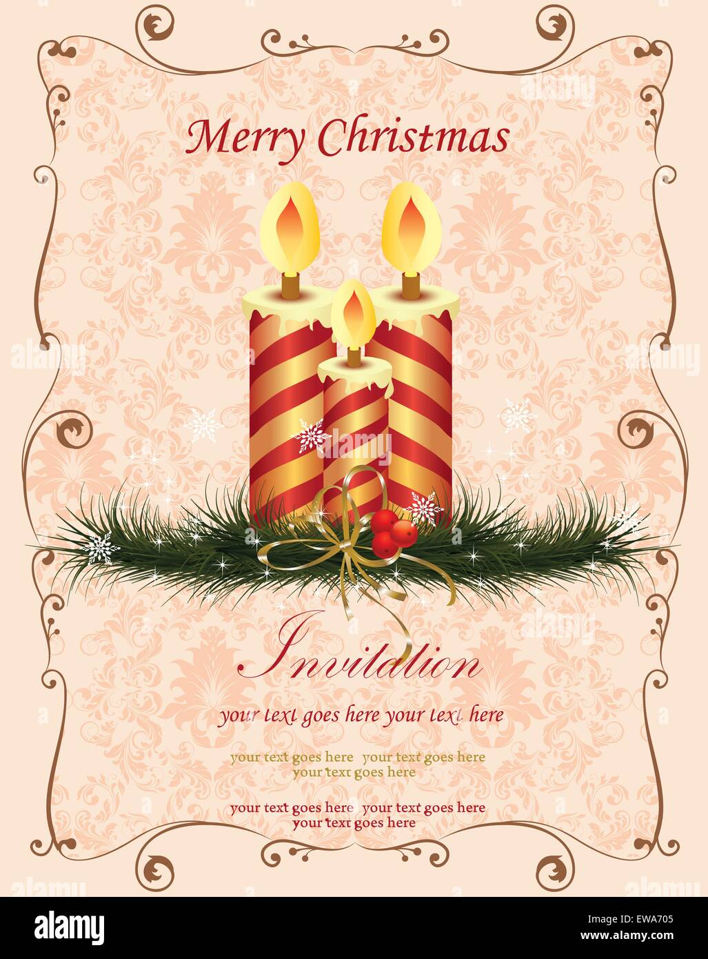 vintage christmas card with ornate elegant retro abstract floral design red and gold striped candles on light orange pink