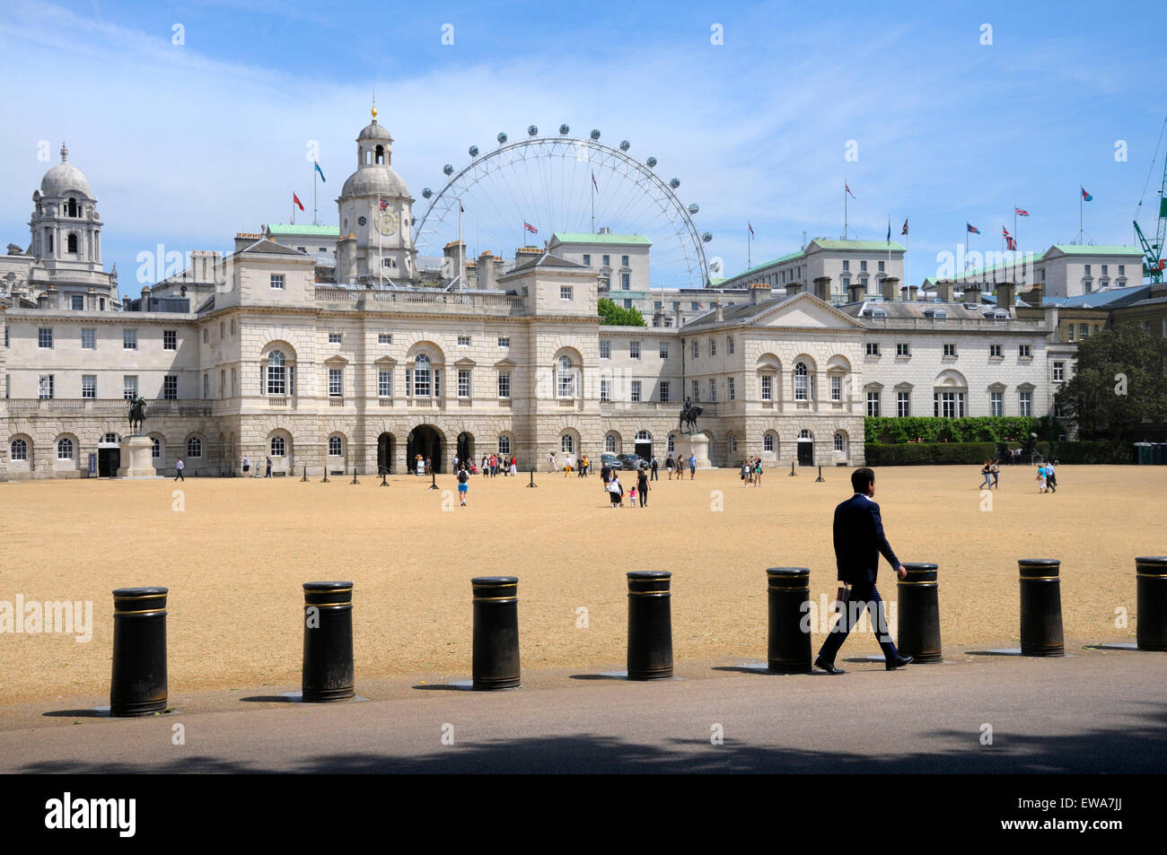 London, England, UK. Horse Guards Parade, and the Millennium Wheel / London Eye Stock Photo