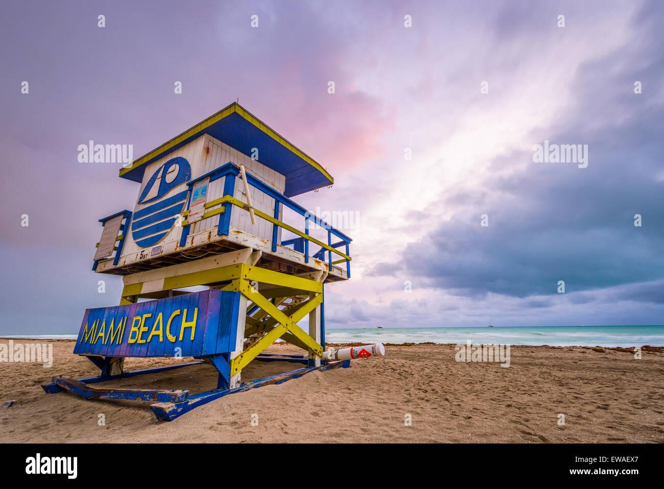 Miami Beach, Florida, USA life guard tower. - Stock Image