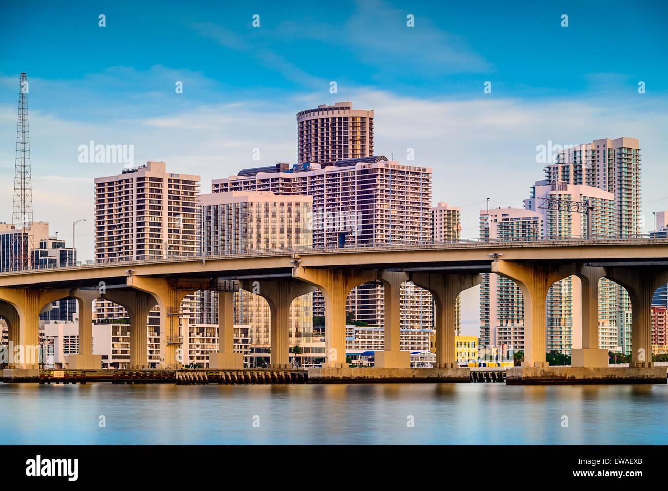 Miami, Florida, USA downtown cityscape. - Stock Image