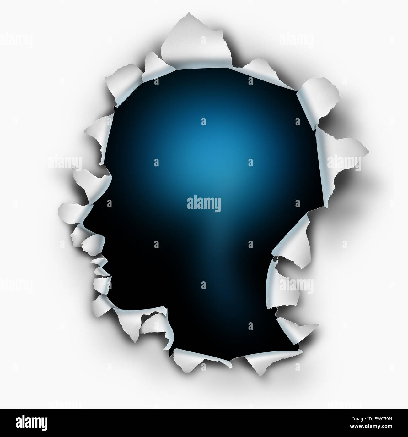Inside of you human thinking concept as a paper burst hole with ripped torn edges shaped as a head on a white sheet - Stock Image