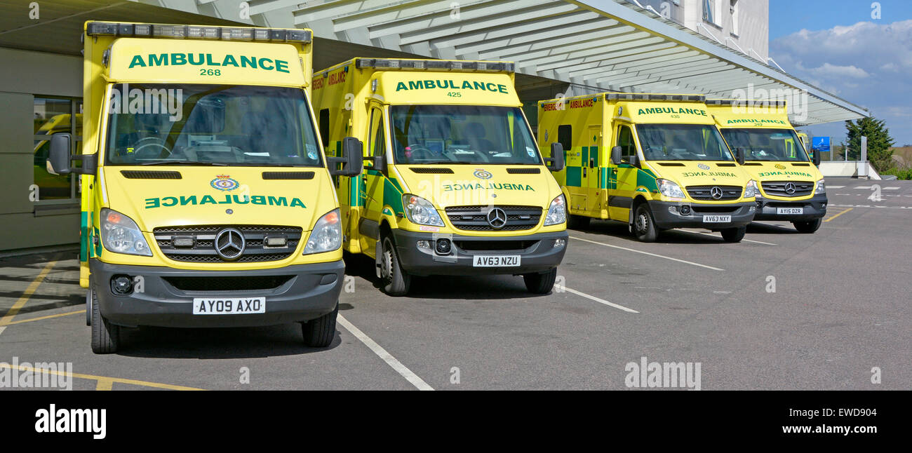 Ambulance parking outside hospital accident and emergency department for East Of England Mercedes Benz ambulances - Stock Image