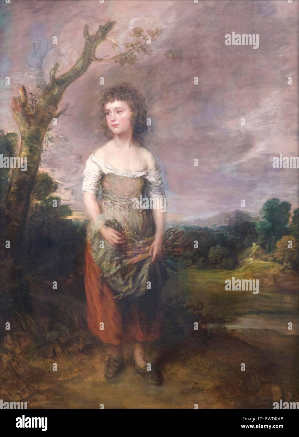 Peasant Girl Gathering Faggots in a Wood, by Thomas Gainsborough, 1782, - Stock Image