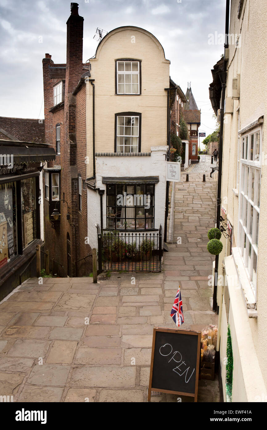 uk england shropshire bridgnorth castle terrace shops at top of