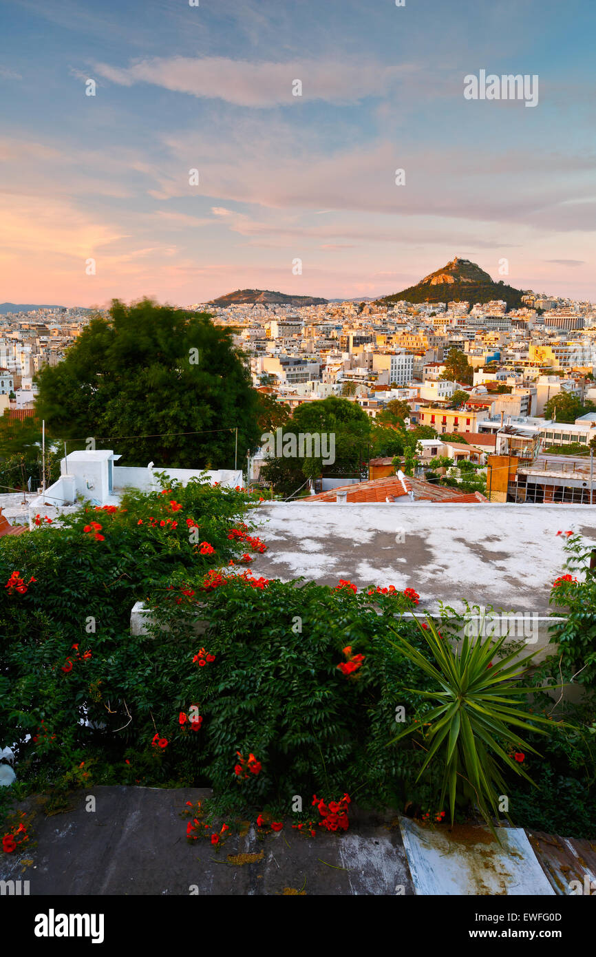 Athens as seen from Anafiotika, Greece. - Stock Image