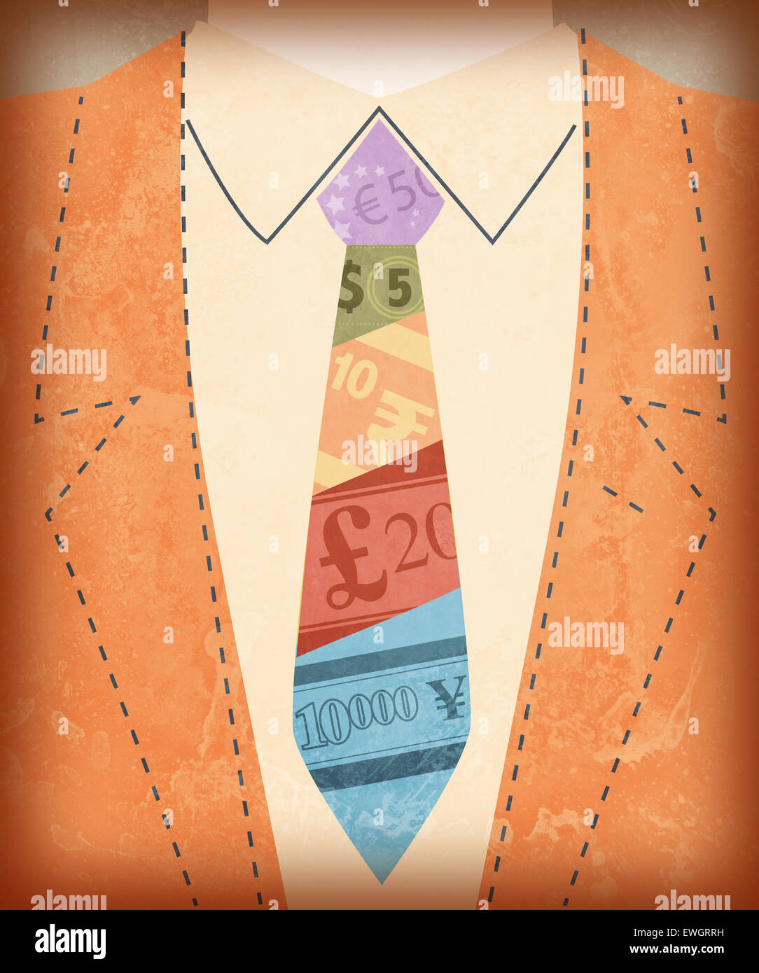 Midsection view of businessman with international currency symbols on tie - Stock Image