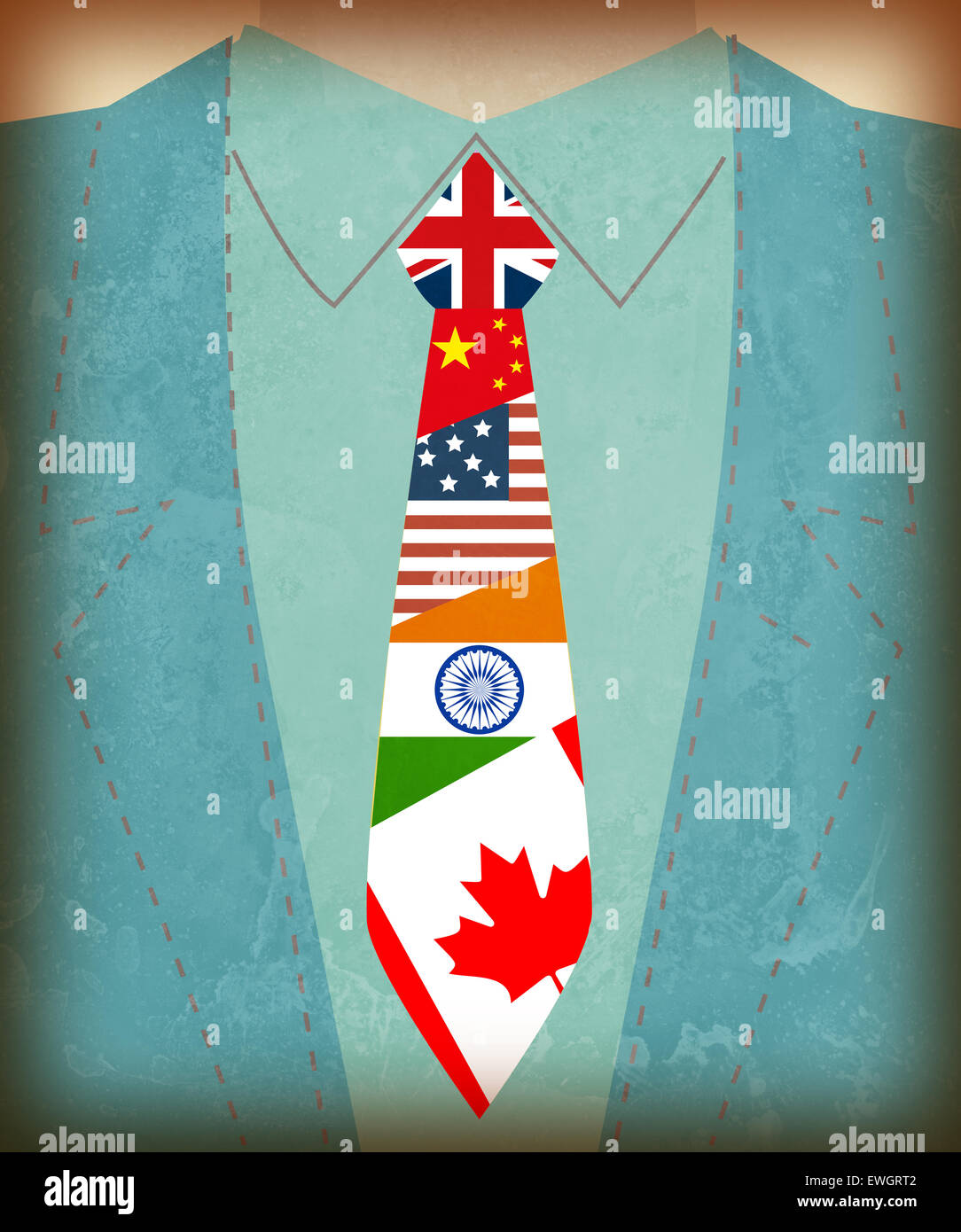 Midsection view of businessman with international flag symbols on tie - Stock Image
