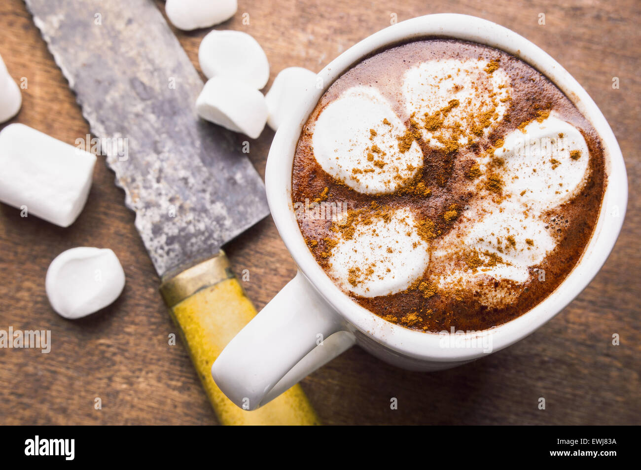 Hot chocolate with marshmallow - Stock Image