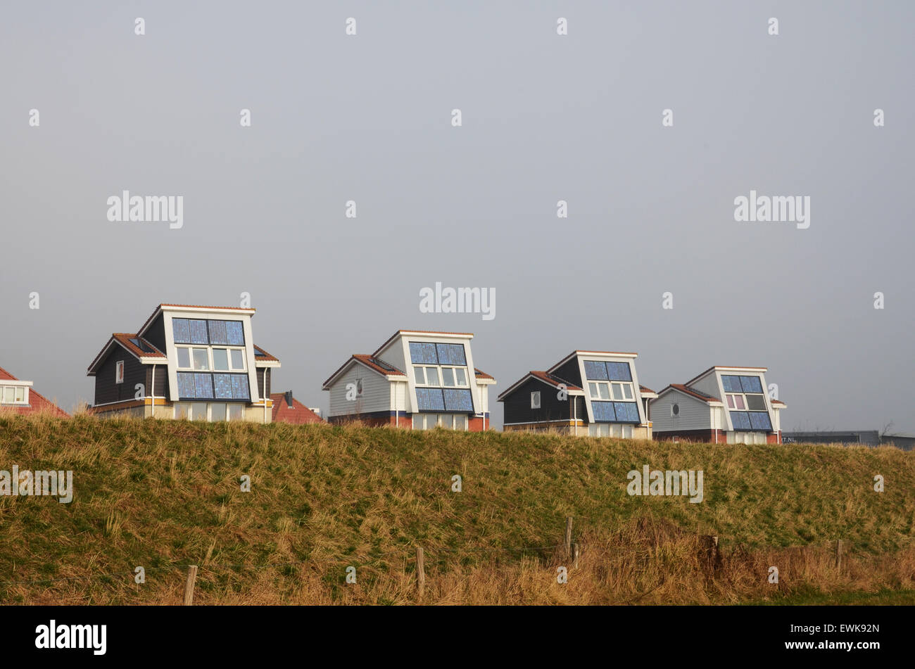 domestic houses with solar panels generating electricity, Egmond ...