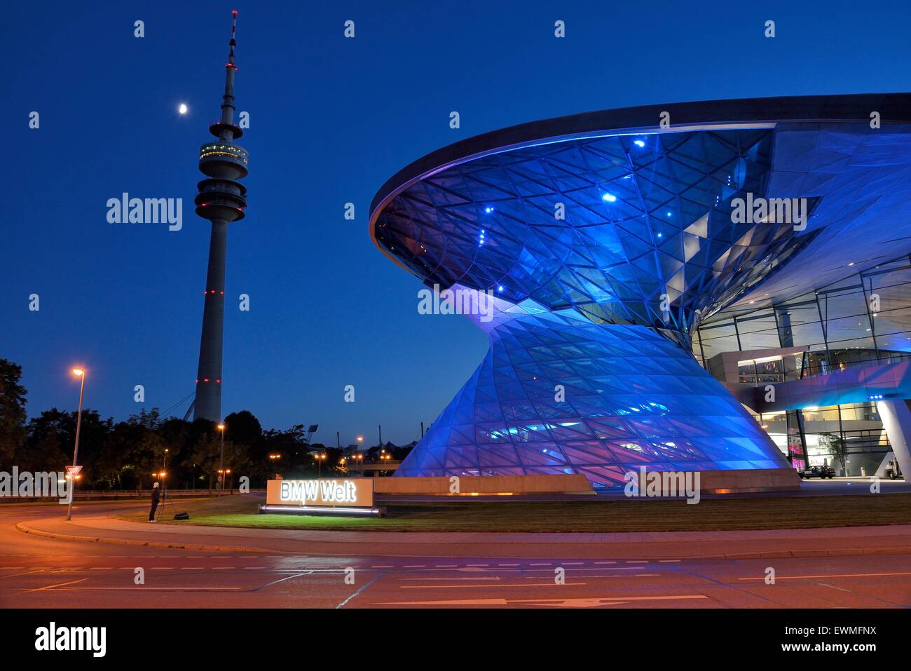 BMW World in evening light, Munich, Bavaria, Germany - Stock Image