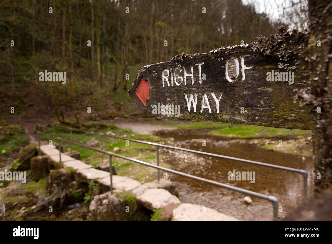 UK, England, Derbyshire, Over Haddon, right of way footpath sign at footbridge over River Lathkill Dale Nature Reserve - Stock Image