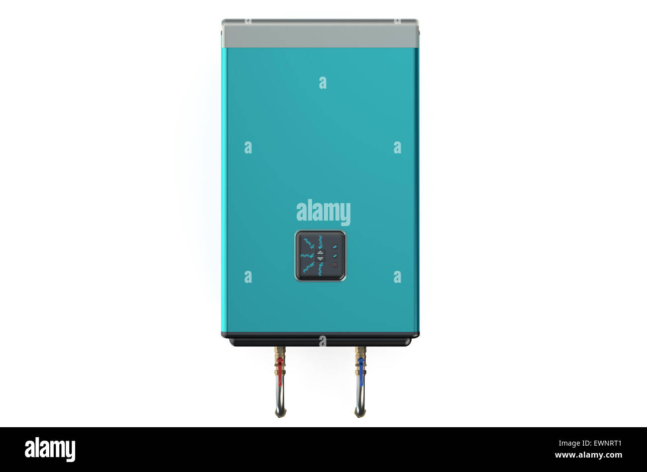 blue automatic electric water heater or boiler isolated on white ...