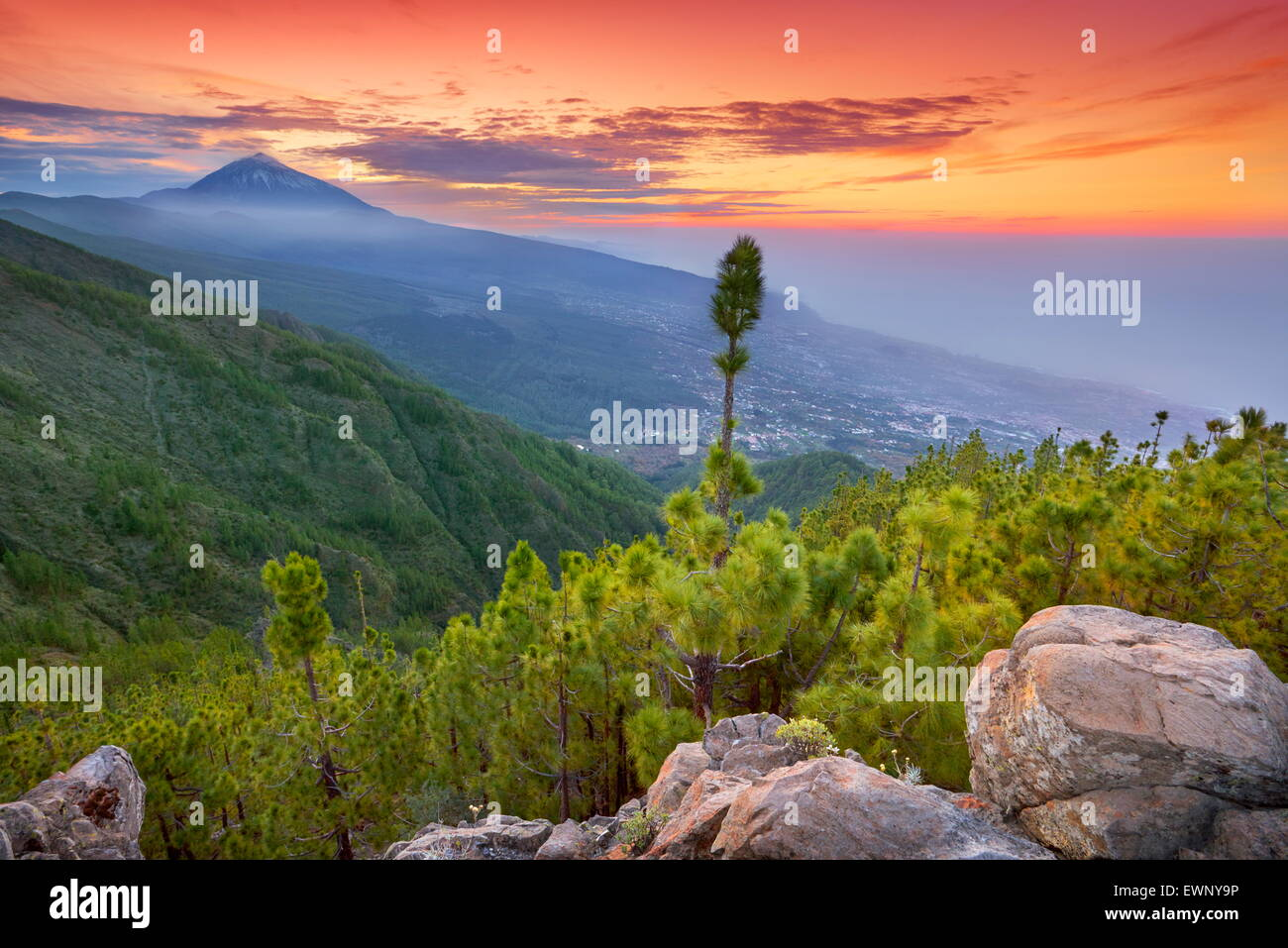 Teide Mount landscape at sunset time, Tenerife, Canary Islands, Spain - Stock Image