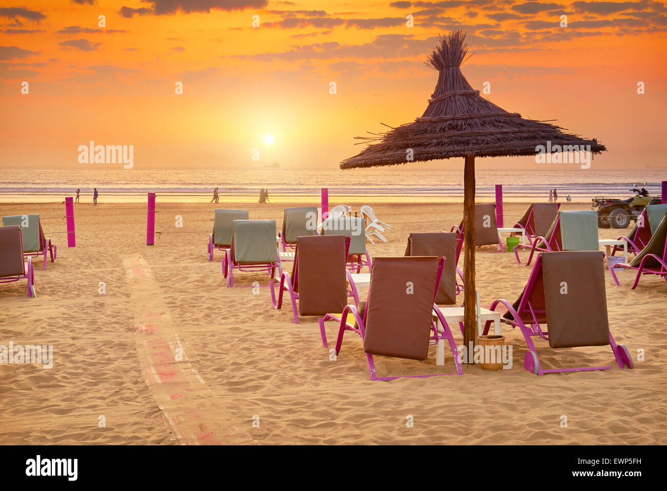Agadir - sunset at the beach, Morocco - Stock Image