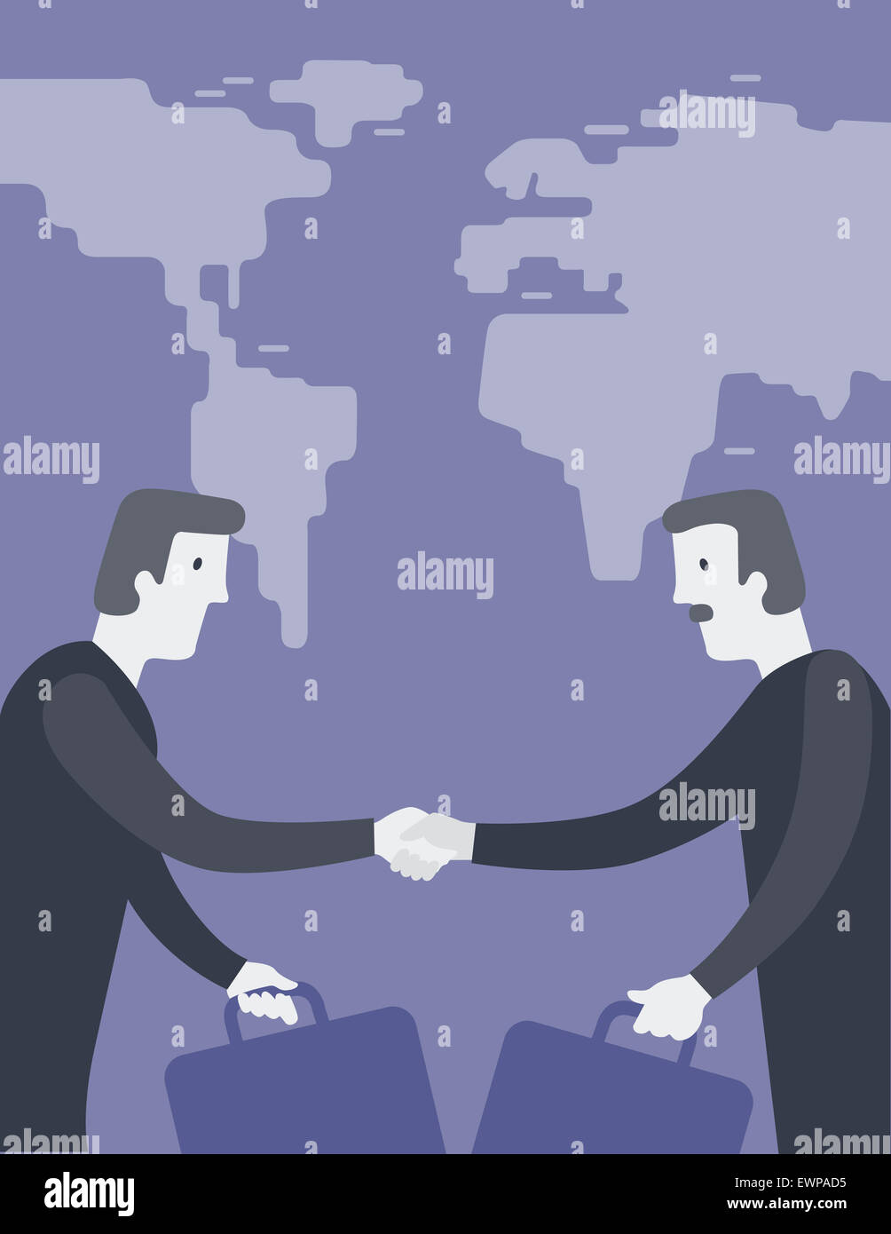 Profile view of two businessmen shaking hands - Stock Image