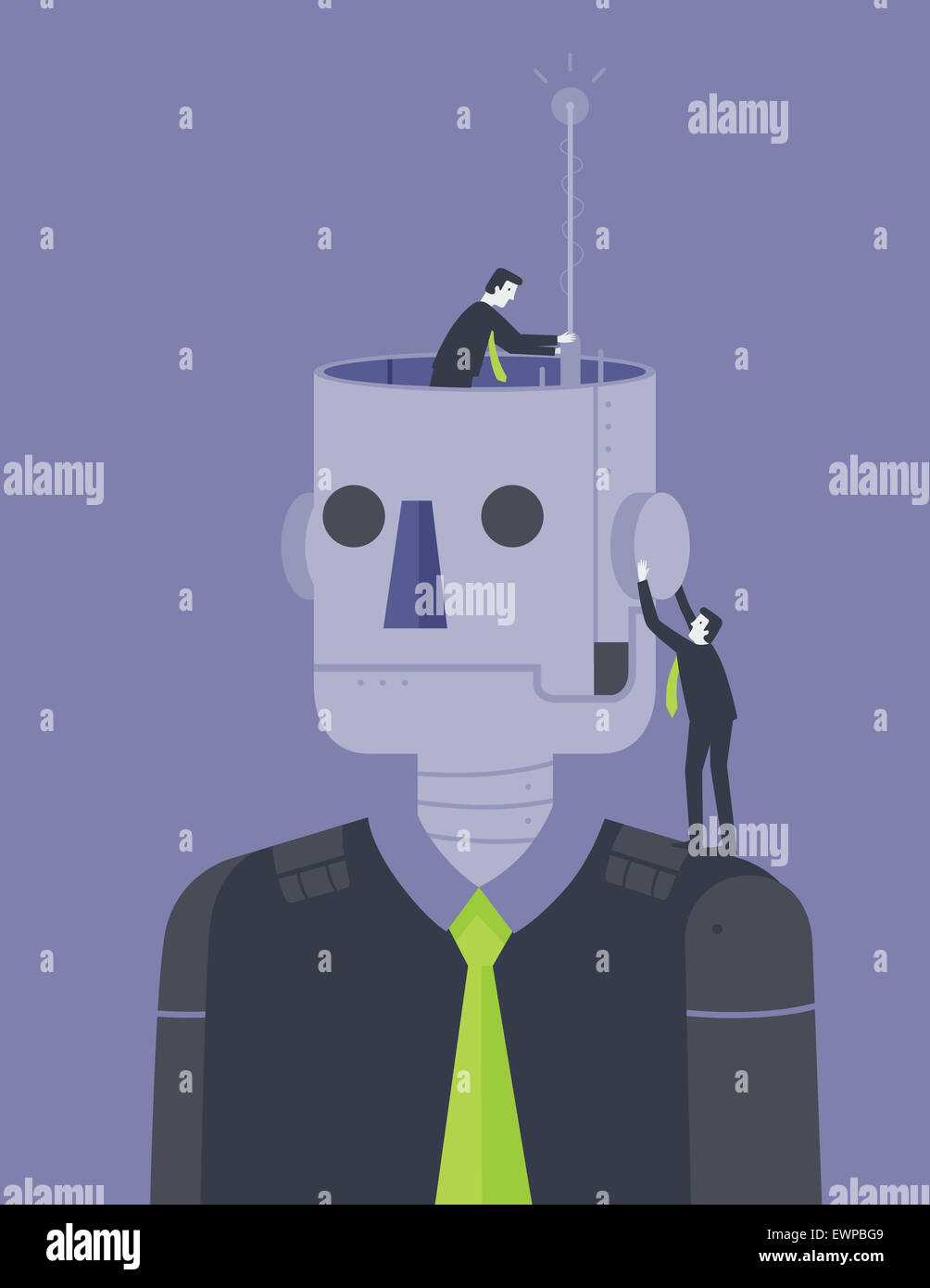 Business people innovating business robot - Stock Image