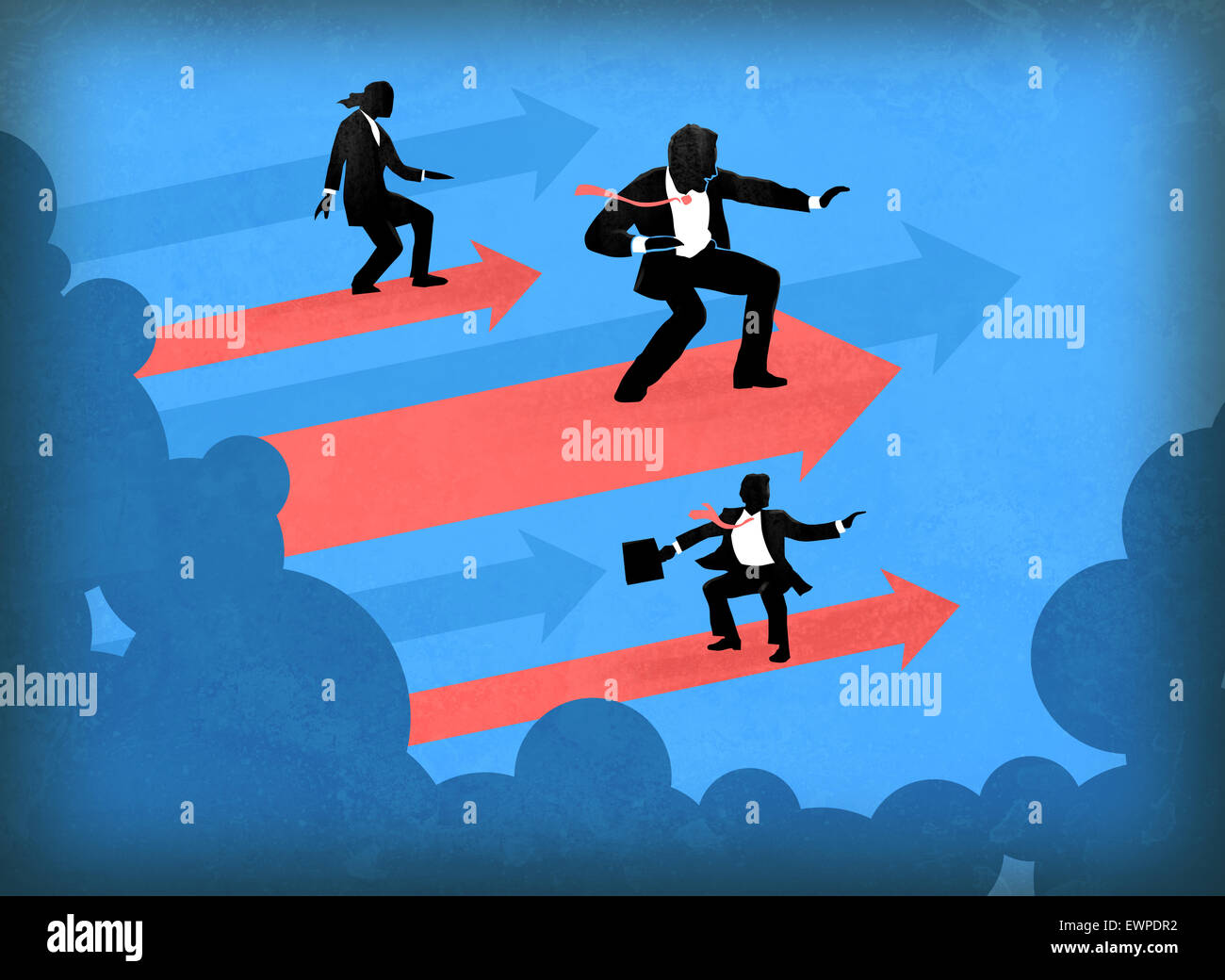 Business people surfing on arrows in direction of success - Stock Image
