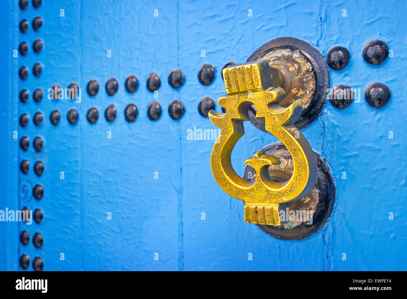 Door knocker, Chefchaouen (Chaouen) known as Blue City, Morocco. - Stock Image