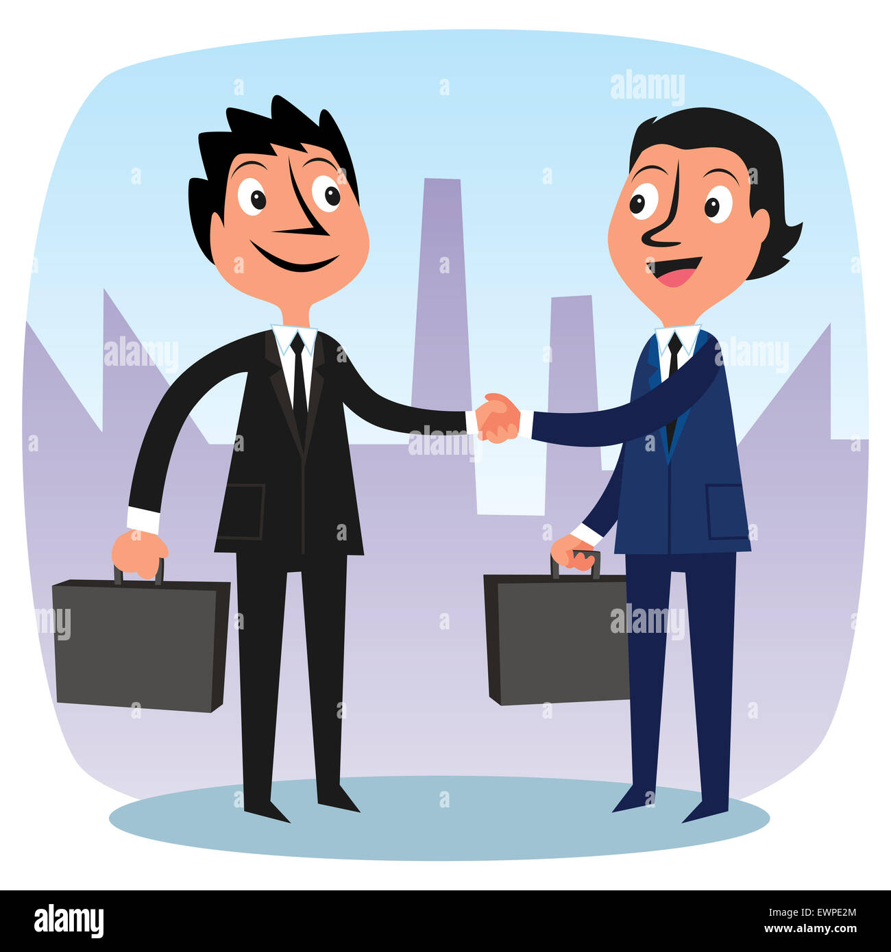Two businessmen congratulating for new partnership - Stock Image