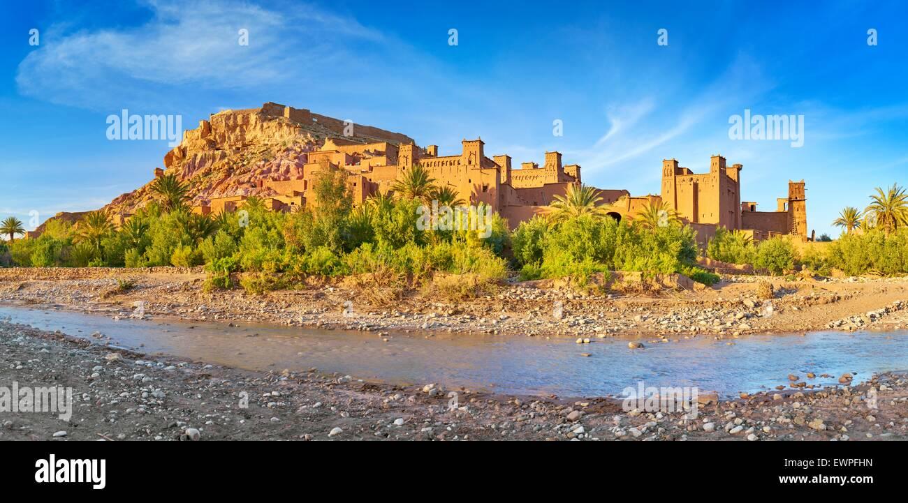 Panoramic view of Ait Benhaddou, Ait Ben Haddou, Kasbah, Ouarzazate, Morocco, Africa - Stock Image