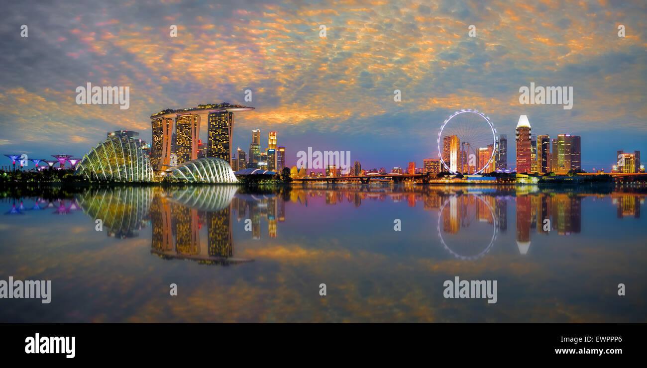 Singapore Skyline Panorama - Stock Image