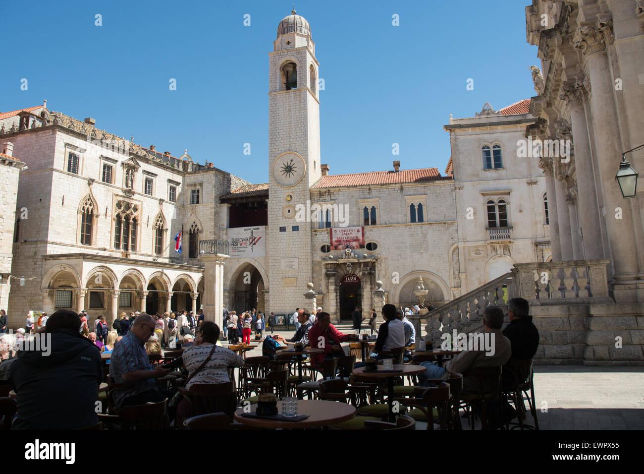 sponza palace & clock tower, luza square, old city dubrovnik, croatia - Stock Image