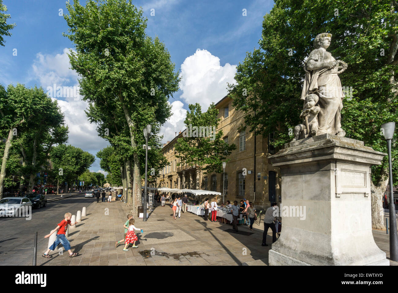 Cours Mirabeau, Aix en Provence. Provence, France - Stock Image