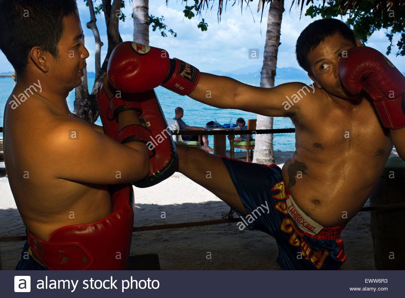 Koh Yao Noi, Phang Nga Bay, Thailand, Asia. Thai Boxing: Muay Thai class, lessons. Muay Thai boxing ring, located - Stock Image