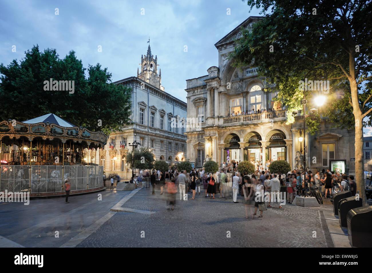 Hotel de Ville, Opera, Place de la Horloge,  Avignon, Bouche du Rhone, France Stock Photo