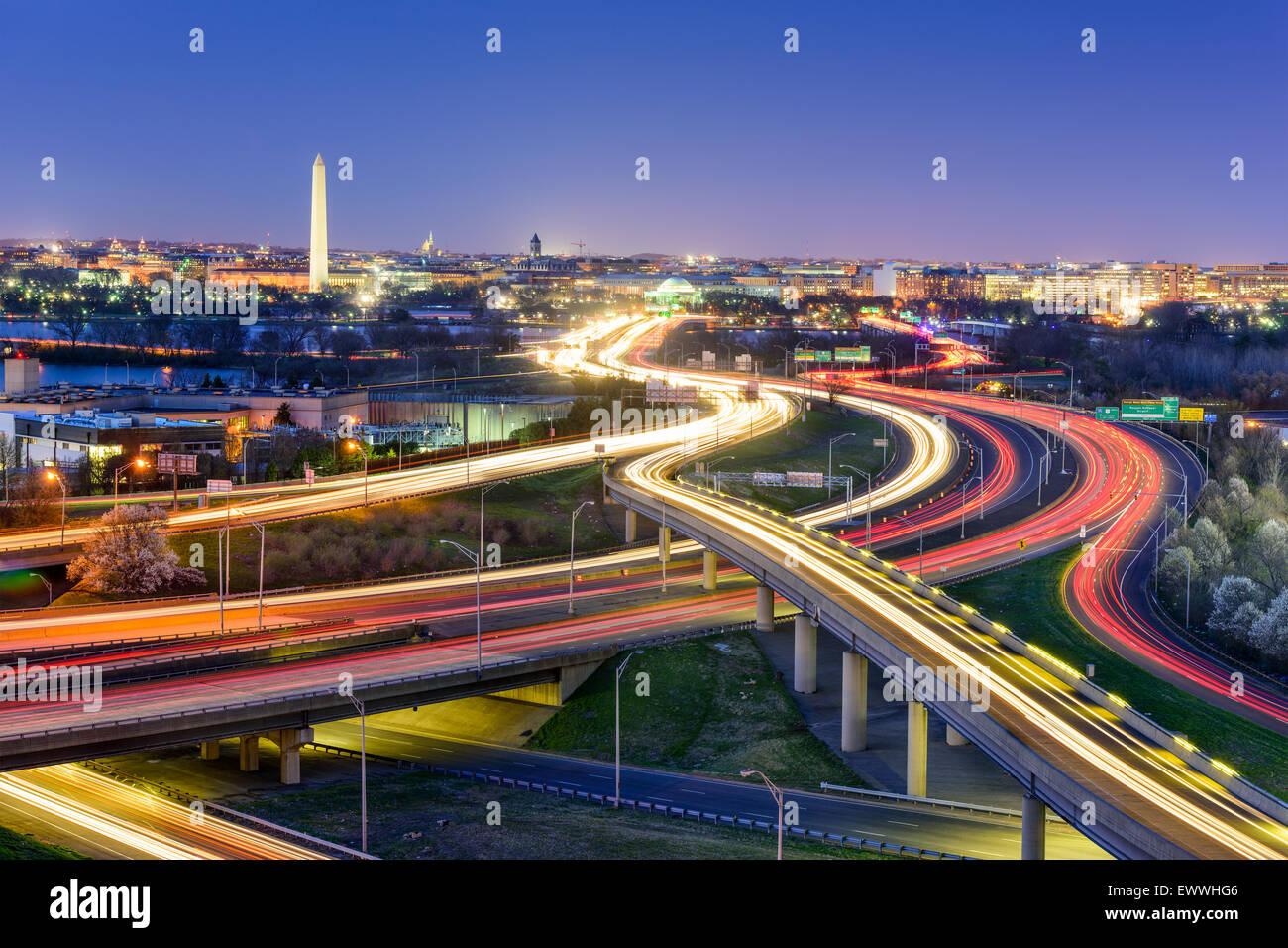 Washington, DC, USA  skyline at night. - Stock Image