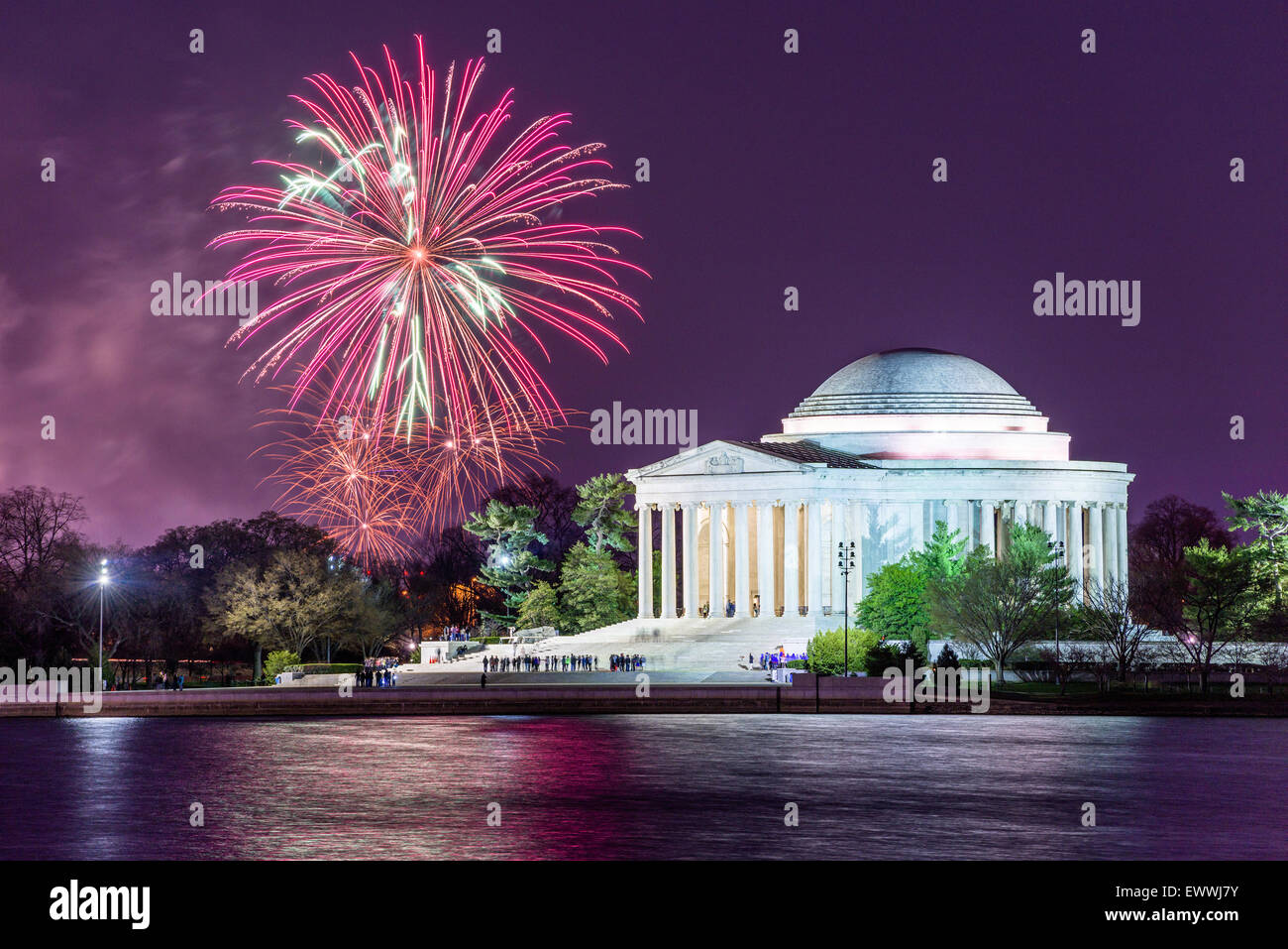 Washington DC, USA tidal basin fireworks. - Stock Image