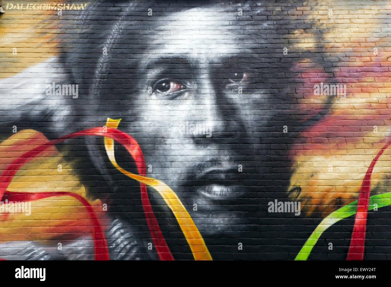 Close-up of part of a mural depicting Bob Marley, by Dale Grimshaw, on the back wall of the Brockley Barge, Stock Photo