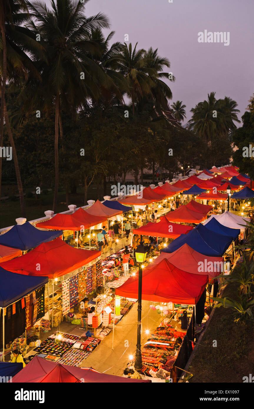 Night Market from above. Luang Prabang, Laos - Stock Image