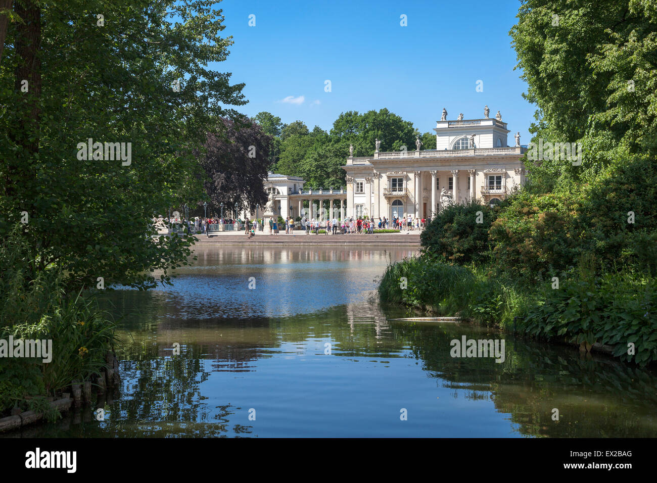 Lazienki Park Lake With Palace On The Water Warsaw Poland Stock