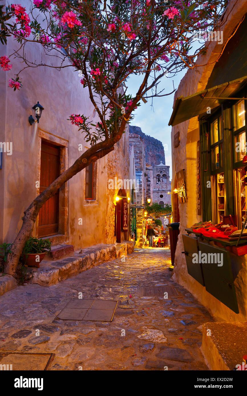 Monemvasia village in Peloponnese, Greece - Stock Image