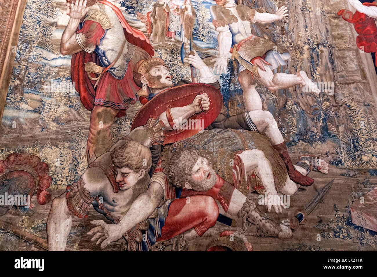 Detail of La Résurrection du Christ Tapestry - Galleria degli Arazzi. Vatican Museums, Musei Vaticani, Vatican City. Stock Photo
